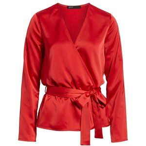 NWT Nordstrom Gibson Glam Squad Faux Wrap Red Top
